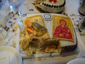 Förgängliga nyskapade ikoner på tårtan