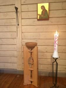 Kristus i ikon, påskljus och dopfunt, Undersviks stiftsgård