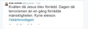 Ärkebiskop Antje Jackeléns inlägg på Twitter i samband med händelsen.