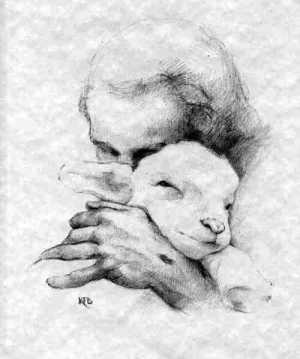 Jesus och ett lamm.