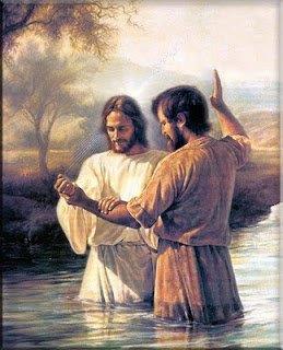 Johannes döparen döper Jesus i Jordan.