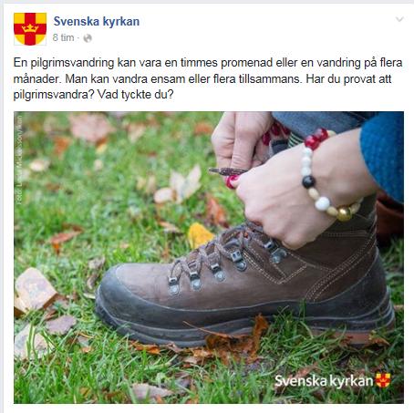 Pilgrimsvandring Svenska kyrkan Facebook-fråga 12 juli 2016