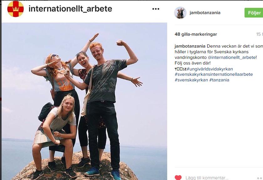 Hanna Levén och hennes tre vänner i Tanzania.