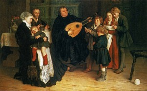 Martin Luther sjunger och spelar med sin familj. Oljemålning av Gusatv Spangenberg ca 1875