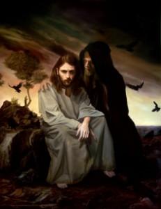 Jesus frestas av djävulen.