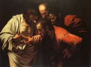 Tomas tvivlaren. Målning av Caravaggio. Källa Wikipedia.