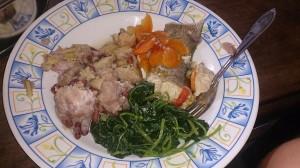 Vår standardmat: banan med bönor, spenat och fisk/ kött