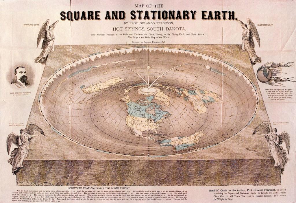 Karta av fyrkantig och stationär jord, signerad prof Orlando Fergusson 1893, bildkälla http://theflatearthsociety.org