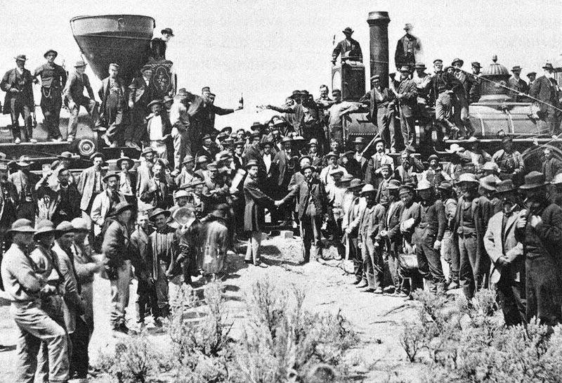 Tågen möts sedan tåglinjerna genom hela nordamerika vuxit samman. Ankomstglädje!
