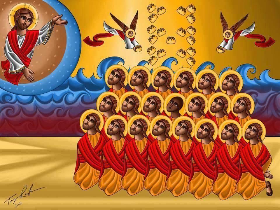 21 koptiska martyrer, dödade av IS i Libyen.