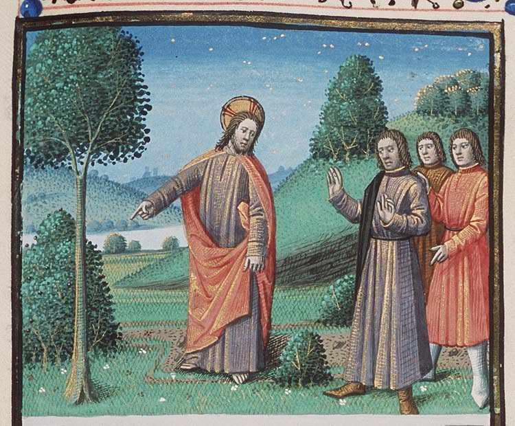 Jesus pekar på ett träd för att förklara saker.