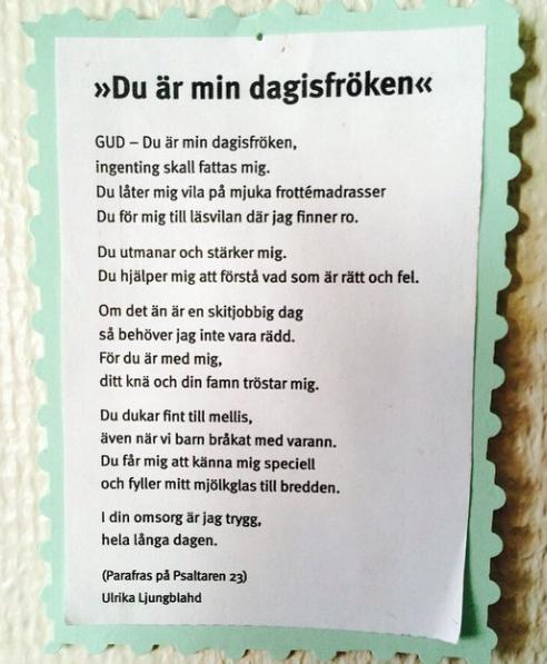 """""""Du är min dagisfröken"""" av  Ulrika Ljungbladh"""