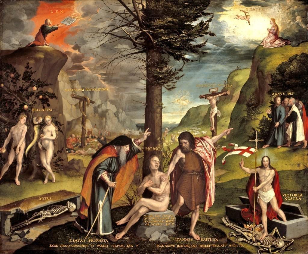"""På denna gamla kyrkmålning ställer man det nya förbundet i stark kontrast mot det gamla på """"lagens tid"""". Människan i mitten bör välja den ljusa framtiden genom kristus."""