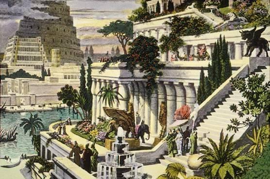 Babylons hängande trädgårdar. Är det tornet i Babel vi ser där i bakgrunden?