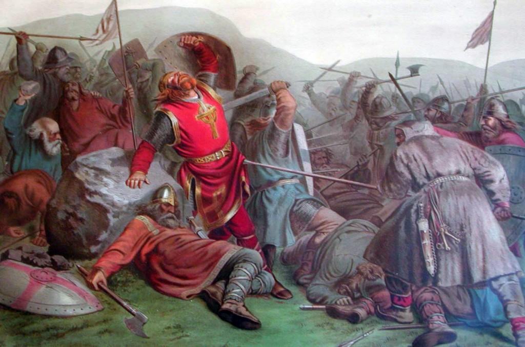 Olof den heliges död vid Stiklestad. Pilgrimsord inspirerade av honom blir nog rätt... dådkraftiga.