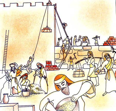 Nehemja bygger upp templet. Lite som en konfirmandledares uppgift.