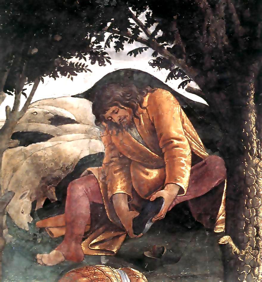 Mose tar av sig om fötterna eftersom han är på helig mark. Mitt bland fåren. Enligt Botticelli.