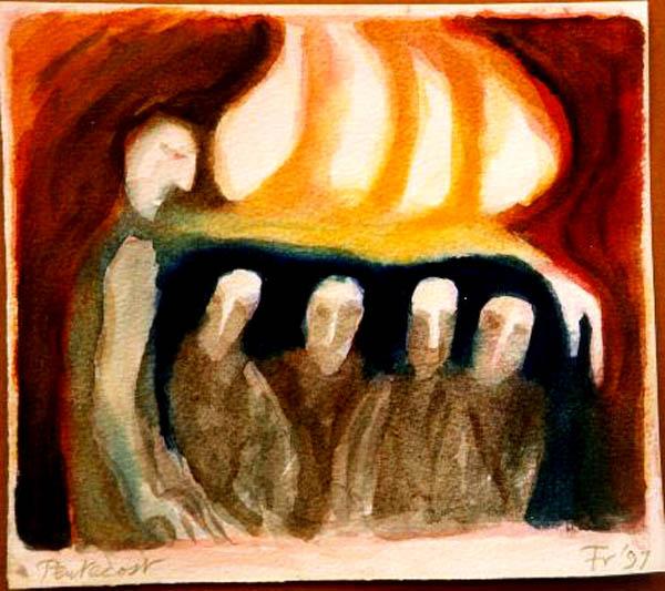 Anden faller över apostlarna.