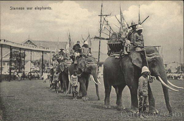 Engelsmän med elefanter. Olika kulturer möts.