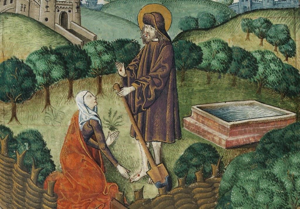 Maria vid den tomma graven, hon talar med Kristus men tror att det bara är trädgårdsmästaren. Fast kanske har hon rätt i alla fall?