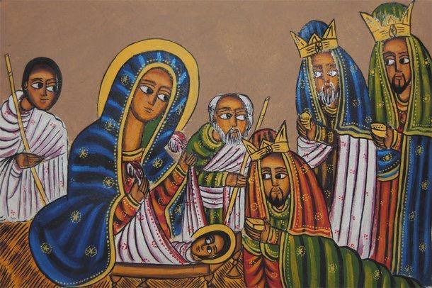 Det här är inga dopvittnen, utan de vise männen och herdarna. De var ju vittnen till barnet som fötts så de hade nog blivit bra faddrar?