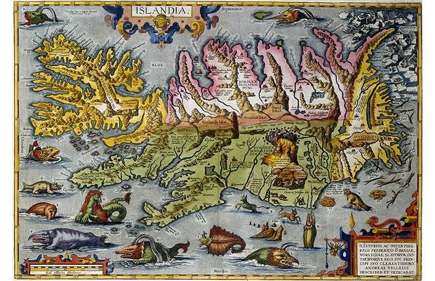 """Gammal karta av Island. Forna tiders människor rörde sig på många sätt i en magisk värld som sedan blivit """"avförtrollad"""", hur gör vi för att ändå ha ögon för undret i naturen?"""