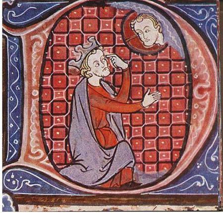 Bild på kung David och Gud i en gammal fransk bibelhandskrift.