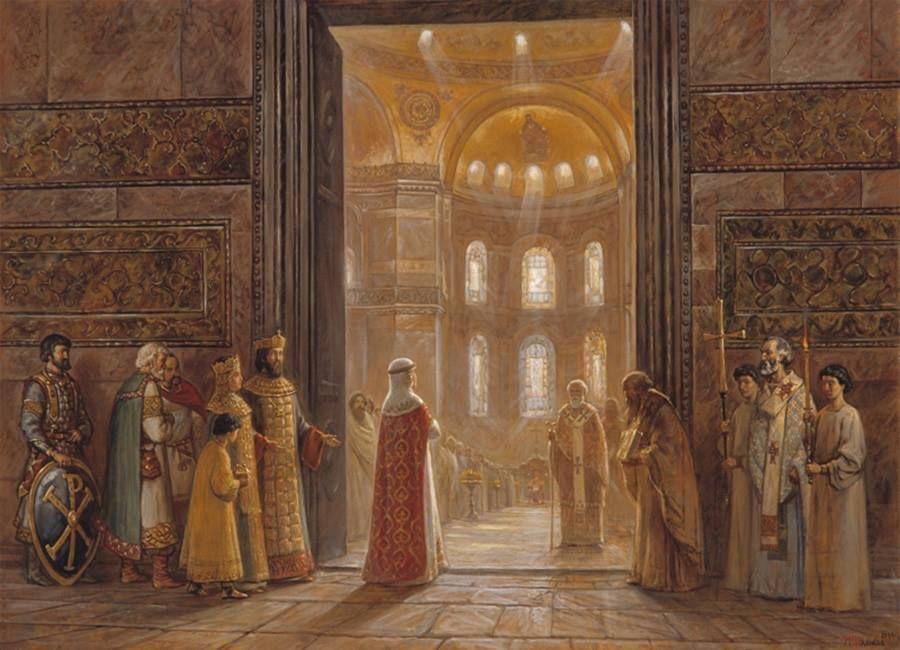 Att gå in i det nya året som in i en kyrka? Här går drottningen i Bysans in i Hagia Sofia.