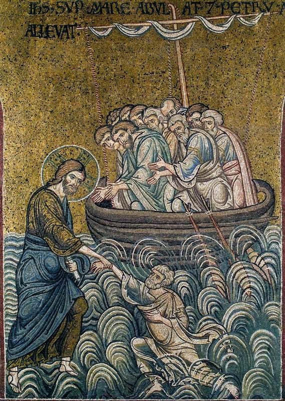 Jesus och Petrus ute bland vågorna.