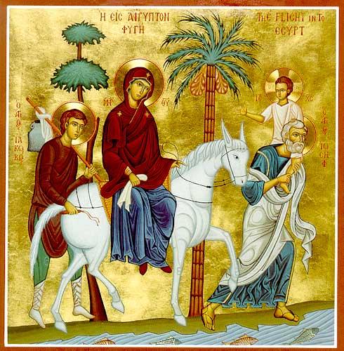 Härlig ikonbild av den heliga familjen på vandring i Egypten. Jesus har hunnit bli ganska stor och rider på Josefs axlar. De har också någon tjänare med sig.