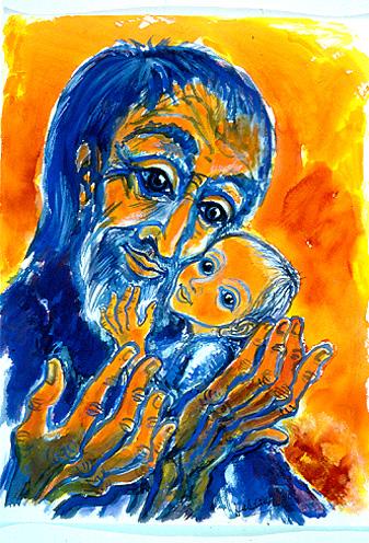 Symeon och Jesus. Glad Symeon.