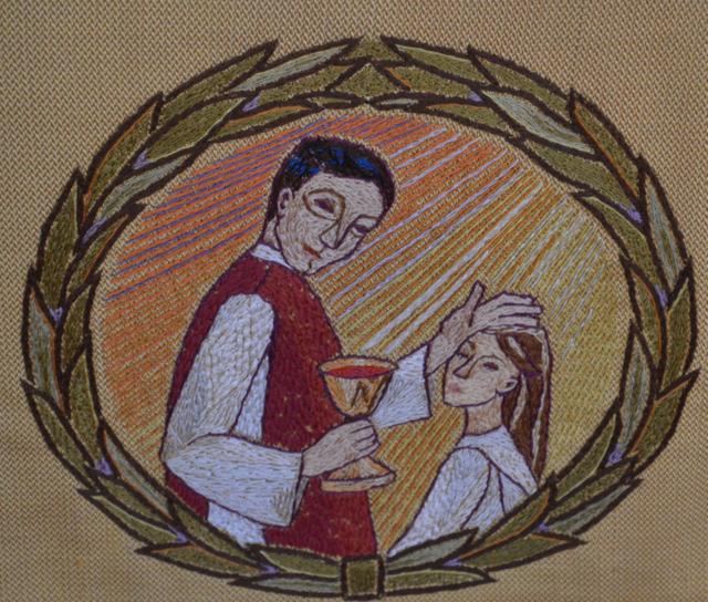 Detalj från altarbrunet i Nittorps kyrka.