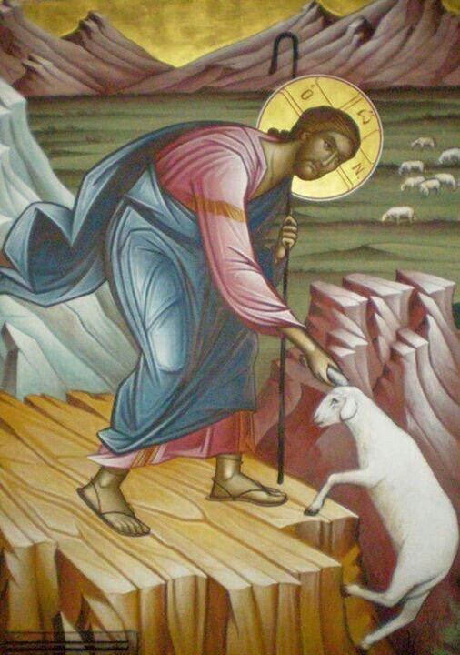Extra svårt att vara ödmjuk om man är felfri som Jesus?  Här räddar han ett bortsprunget får men kommer ändå ihåg att han lever av Guds nåd.