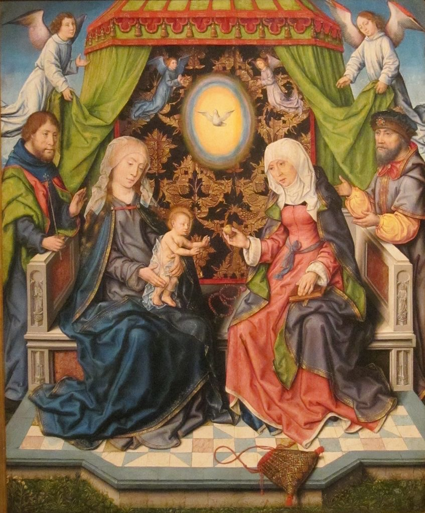 Många generationer på en bild. Josef och Maria och Jesusbarnet hälsar på hos mormor och morfar Anna och Joakim.