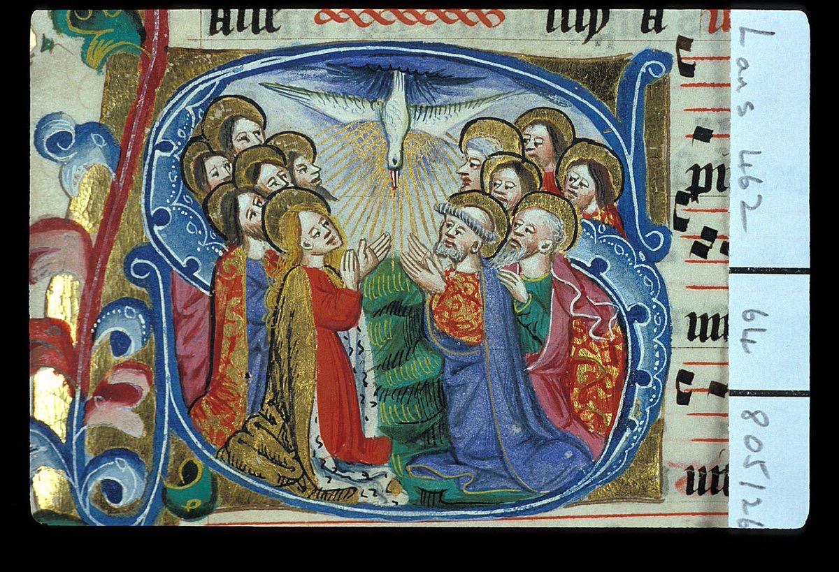Anden faller över apostlarna, medeltida bild.