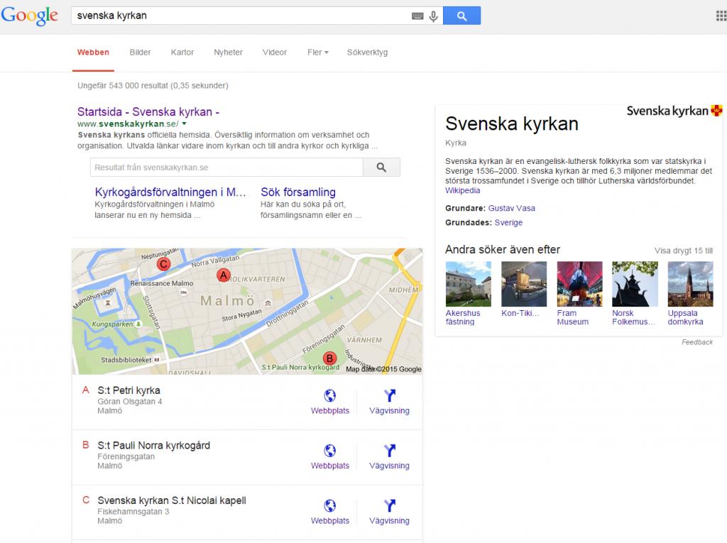 Googles temasida för sökningen svenska kyrkan