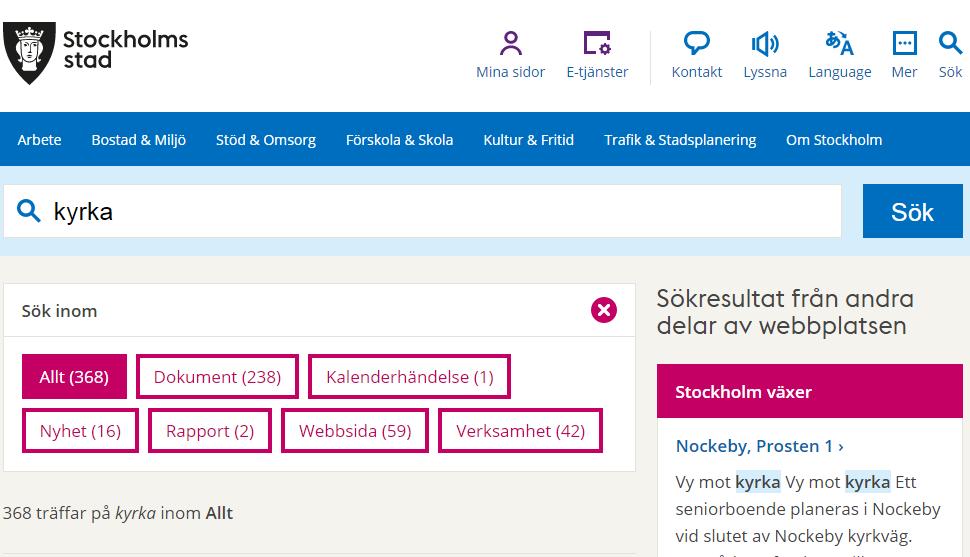 """Stockholms stads kategorier där man kan """"borra sig ner"""" för att förfina sökresultatet"""
